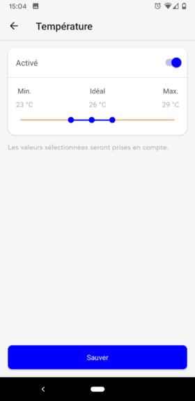 Choisissez les plages de mesures pour chaque valeur analysée par le Blue Connect