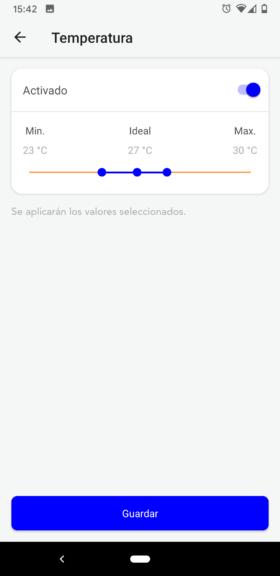 Elija los rangos de medición para cada valor analizado por el Blue Connect